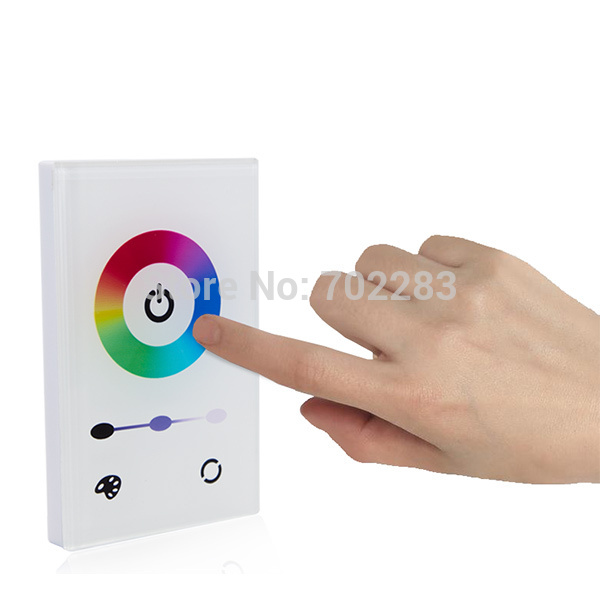 US Standard LED Controller Wall Mounted Touch Panel RGB Full-color LED Controller for 12V 24V 5050 RGB LED Strip Light freeshipping dc12v 24v 9a 3 channels wall mounted square touch panel rgb led controller for rgb led strip light