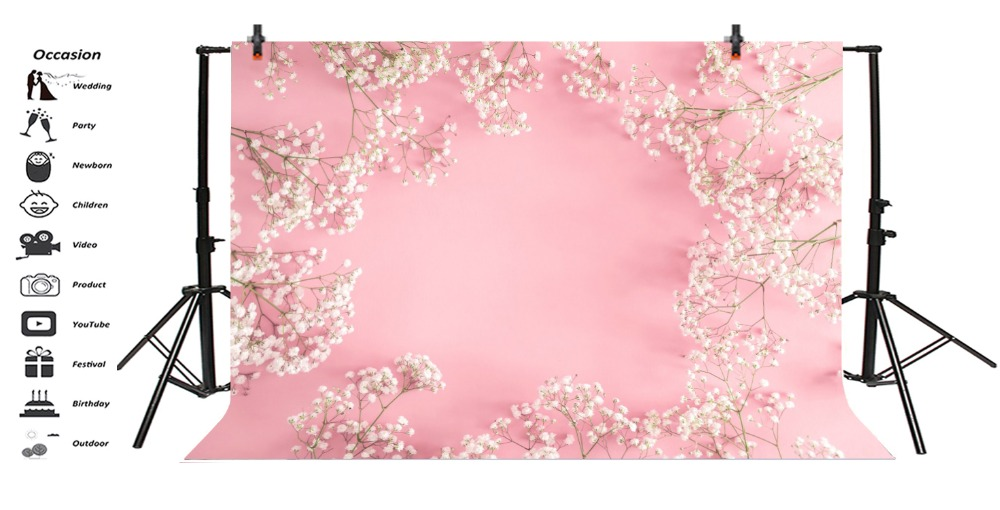 Laeacco Pink Flowers Petal Spring Baby Newborn Baby Shower Portrait Photo Backgrounds Photography Backdrops Photo Studio in Background from Consumer Electronics
