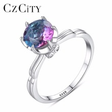 CZCITY Genuine 925 Sterling Silver Rainbow Fire Mystic Topaz Solid Ring For Women Jewelry Gift Fine Engagement