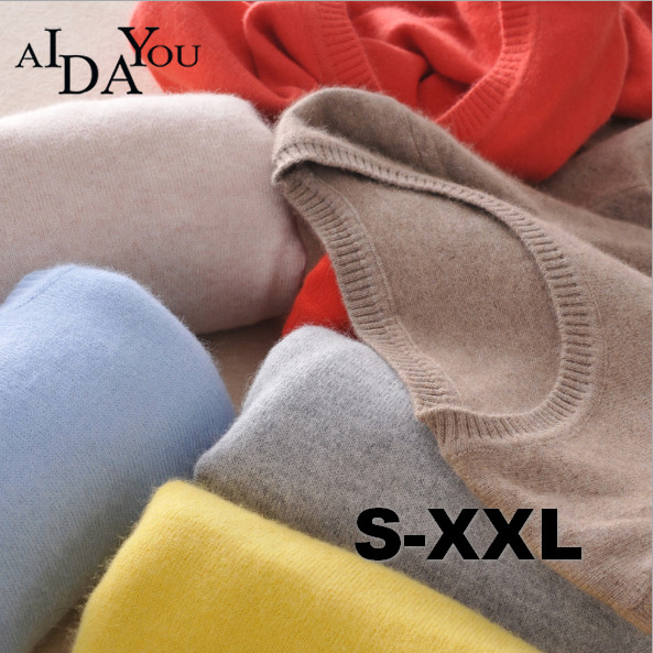 2019 New pattern All match Sweater Cashmere Casual O Neck Solid AIDAYOU Keep warm everyday wear ouc1890 in Pullovers from Women 39 s Clothing