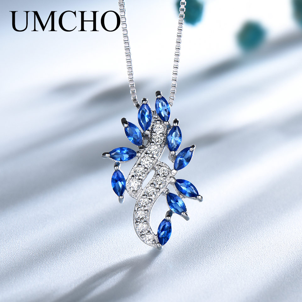UMCHO Solid 925 Sterling Silver Pendants Necklace For Women Blue Sapphire Leaf Gemstone Wedding Jewelry with Chain Drop Shipping