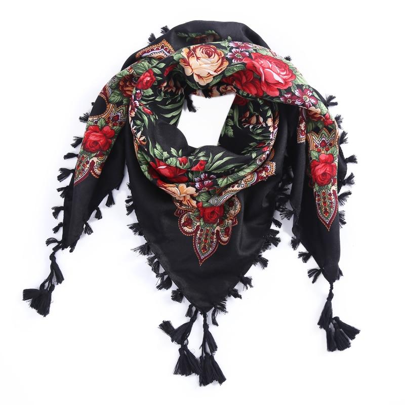 Rusia nueva venta caliente Wquare moda bufanda decorativa hecha a mano borla diseño de flores bufandas manta mantón pañuelo para las mujeres