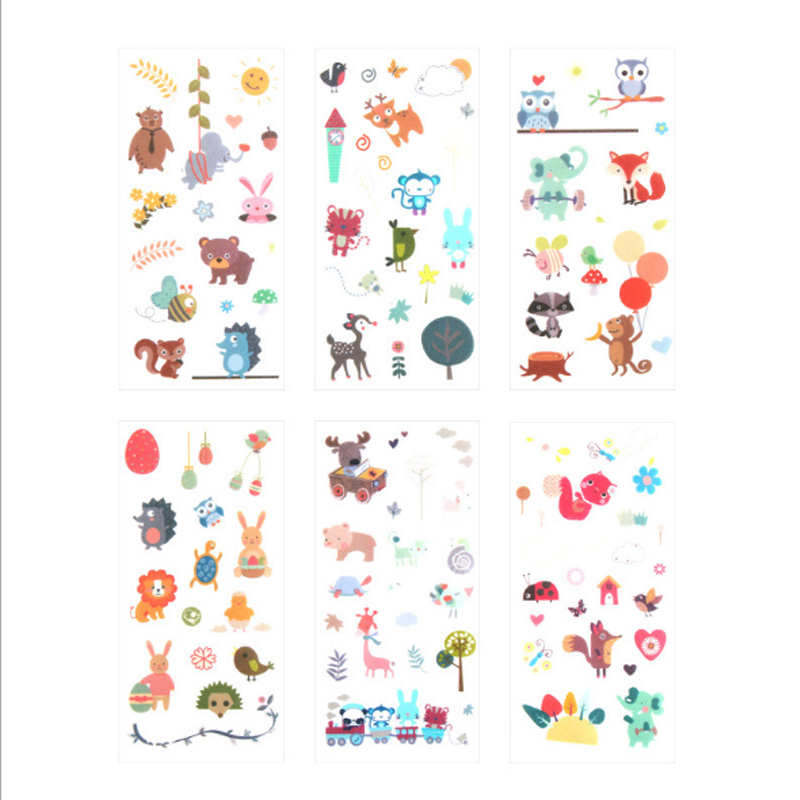 Купить с кэшбэком 6pcs/lot Children's environmental protection Creative Stickers Stationery Post Cartoon Label Stickers office School Supplies