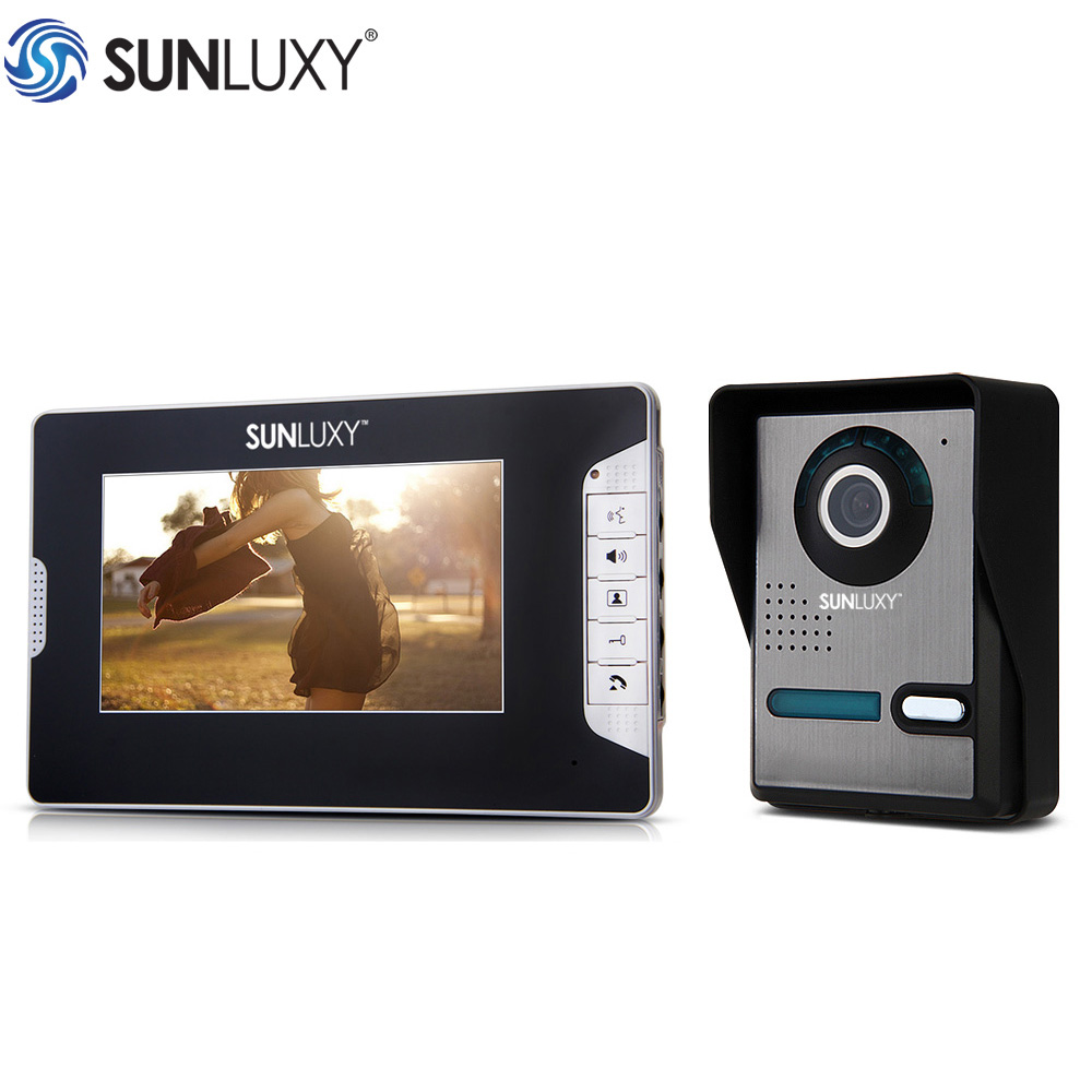 SUNLUXY Video Intercom Home Security 7 Inch TFT LCD Doorbell Intercom Kit 1-Camera 1-Monitor Night Vision Monitor 1/4 CMOS 7 inch video doorbell tft lcd hd screen wired video doorphone for villa one monitor with one metal outdoor unit night vision