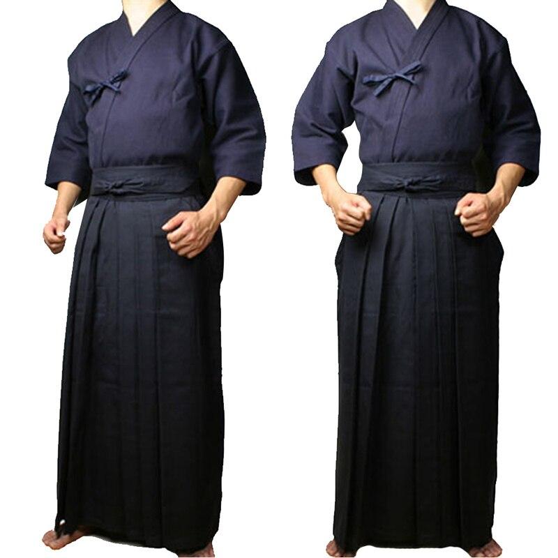 Martial Arts Clothing Kendo Aikido Hapkido Martial Arts Keikogi and Hakama Suit Men Women Navy blue