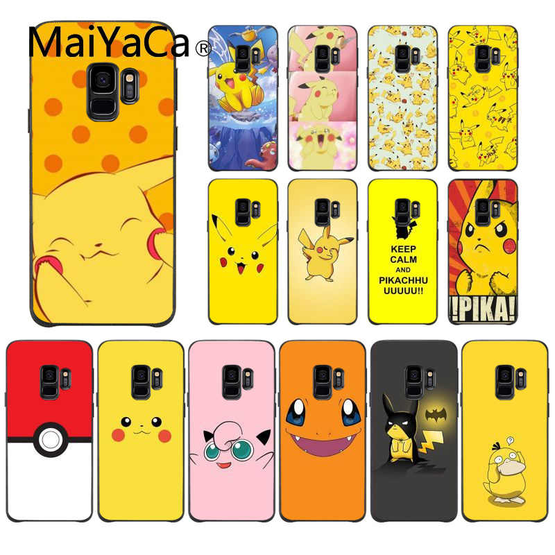 MaiYaCa pokemons eevee pika Black Soft Shell Phone Cover for Samsung Galaxy S9 plus S7 edge S6 edge plus S10 S8 plus case