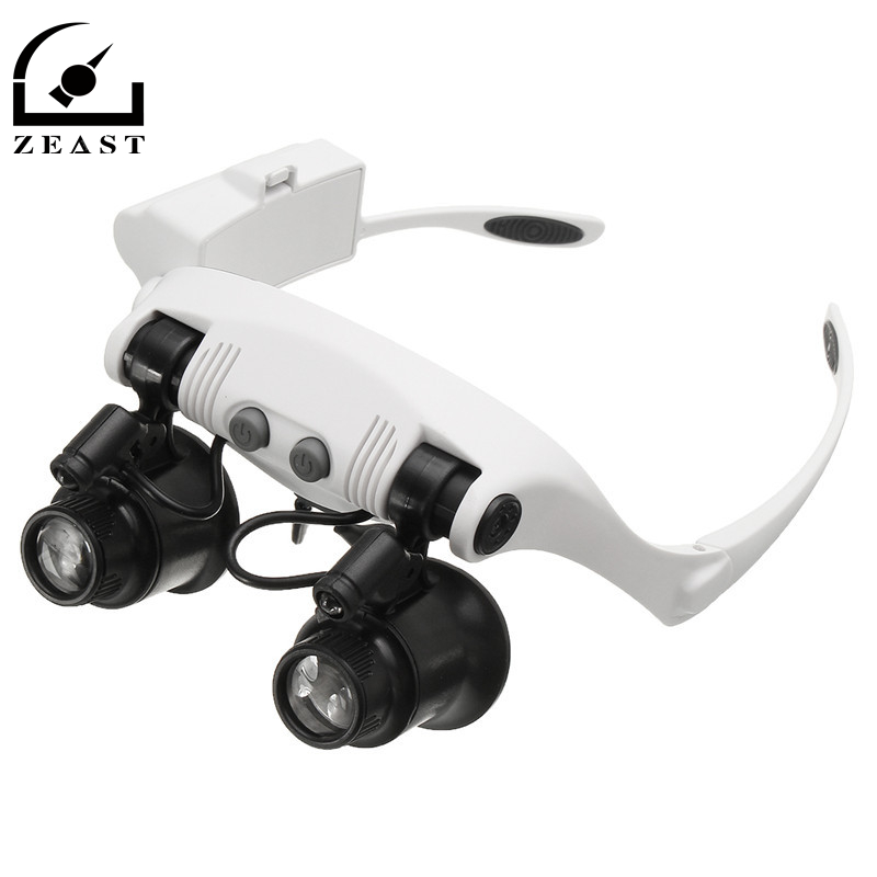 10X 15X 20X 25X LED Magnifier Double Eye Glasses Loupe Lens Jeweler Watch Repair Measurement with 8 Lens LED lamp цена