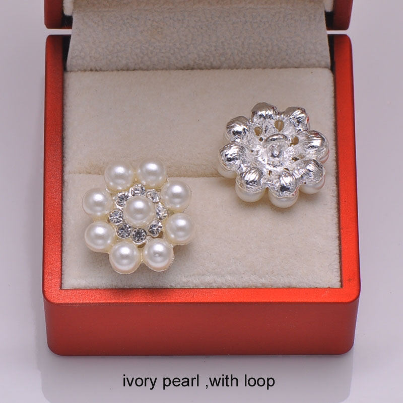 (L0293) free shipping 20pcslot, metal rhinestone button,pearl cluster,silver or light gold plating,with loop at back
