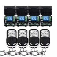 12V 1CH Wireless Remote Control Switch System 4 Transmitter & 4 Receiver Relay Smart House z wave