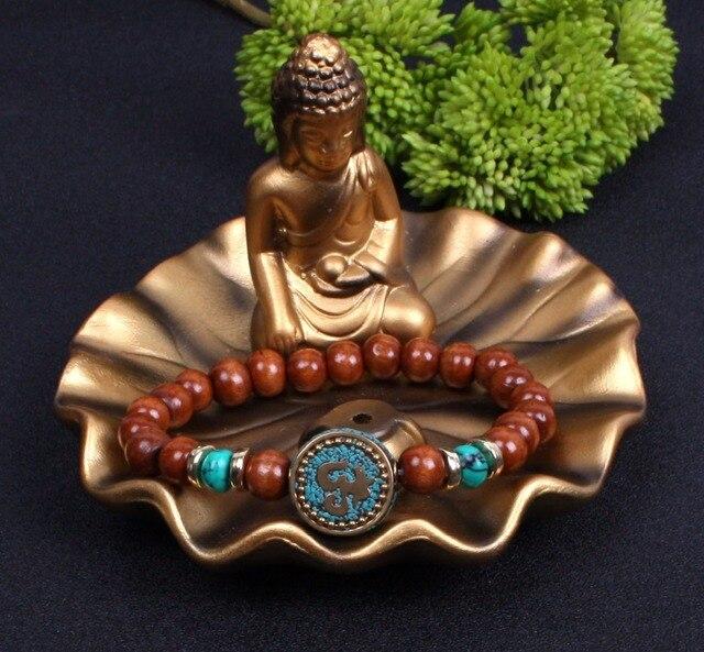 Bracelet Bouddhiste en Bois avec statut Bouddha