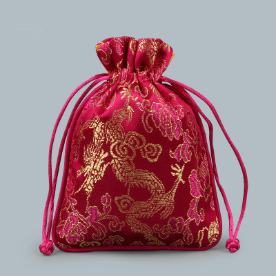Dragon pattern silk satin jewelry pouch drawstring for Drawstring jewelry bag pattern