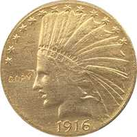 24-K chapado en oro 1916-S cabeza India $10 copia de moneda de oro