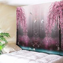 Pink Flower and Bird Print Large Wall Tapestry Cheap Hippie Hanging Art Carpet Bohemian Decorative Living Room Big Blanket