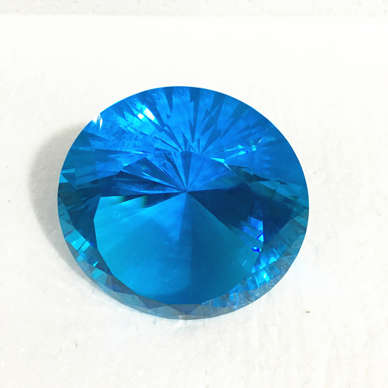 1pcs 100mm Aquamarine Glass Crystal Diamonds Paperweight Decorative Faceted Crystal For Wedding Table Decoration Gift