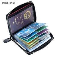 DIKEDAKU Rfid Genuine Leather Passport Cover Wallet Unisex Zipper Big Capacity Credit Cards Holder Women Men Wallet for Passport