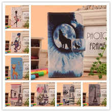 цена на For Vertex Impress In Touch 3G 4G Jazz Moon More Novo Omega Open Phone case Flip Painting PU Leather With Card Holder Cover