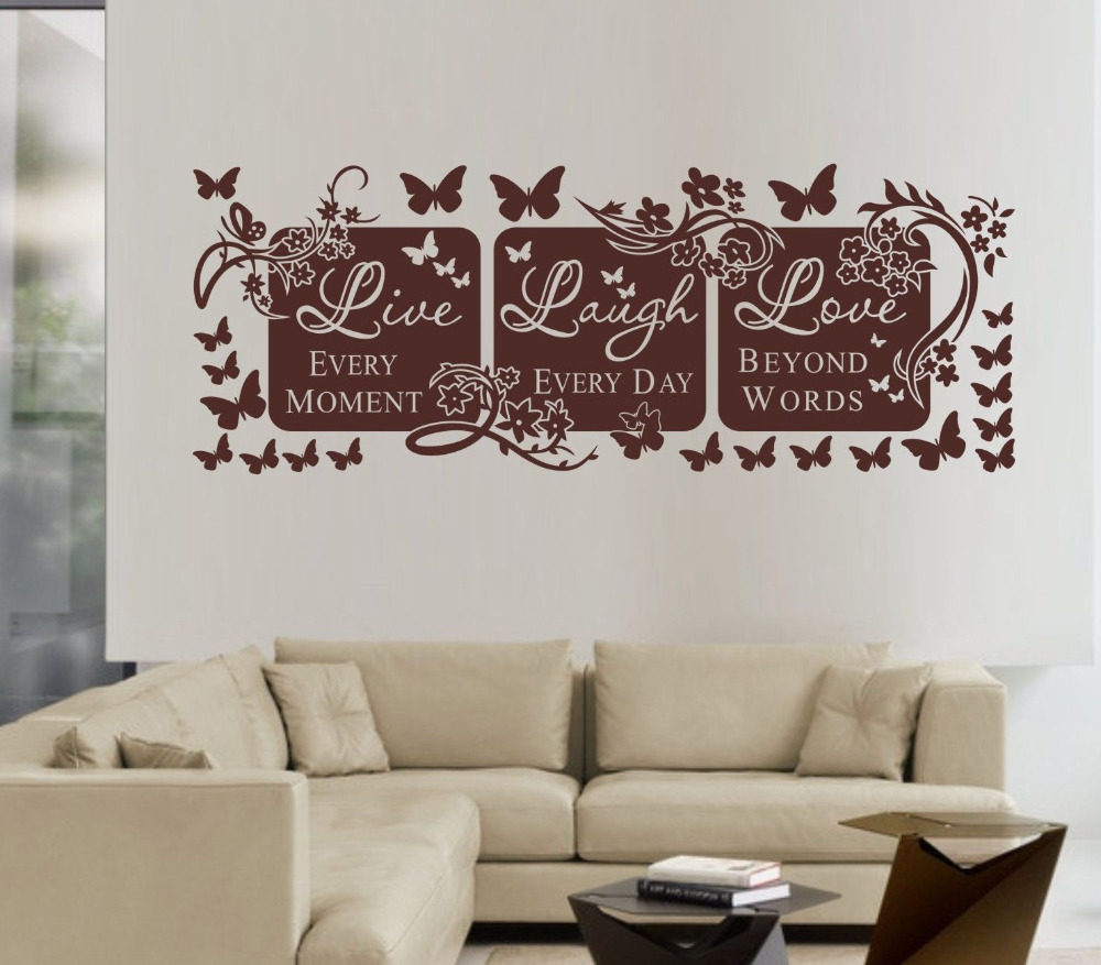 Live Laugh Love Wall Decals Butterflies Floral Vines Wall Sticker Quotes  Fashion Designer Wall Art ...
