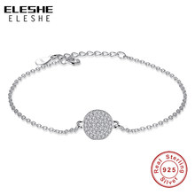 ELESHE Luxury 925 Sterling Silver Charm Bracelet & Bangle with Full Crystal Round Ball Beads Bracelet for Women Drop Shipping(China)