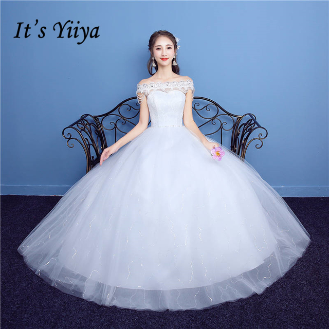 It\'s YiiYa Off White Sales Sleeveless Boat Neck Wedding Dress ...