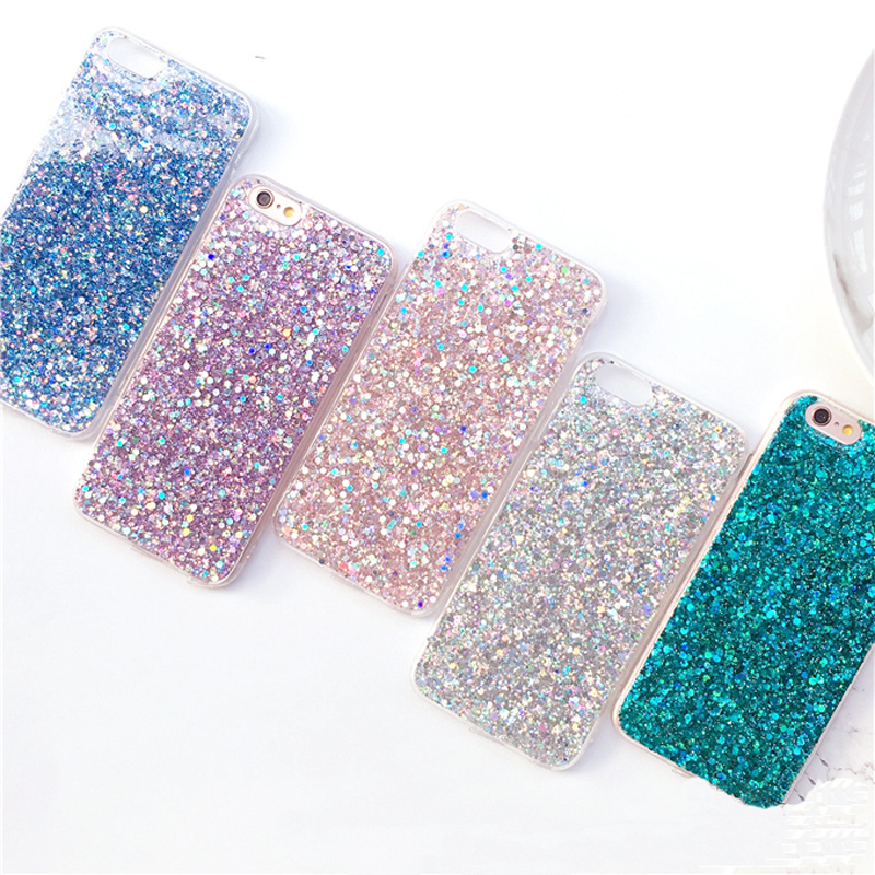 Luxury glitter case for iphone 8 plus Flashing Powder Sequins bling shell phone cases for iphone 7 7 Plus 6 6s plus Fubdas Cases