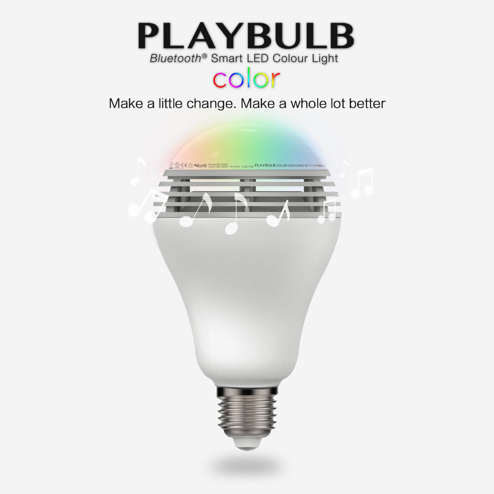 mipow Playbulb Bluetooth Speaker Smart Dimmable LED Light Bulbs Color Changing Lighting Romantic party Lights  E26 E27 3W