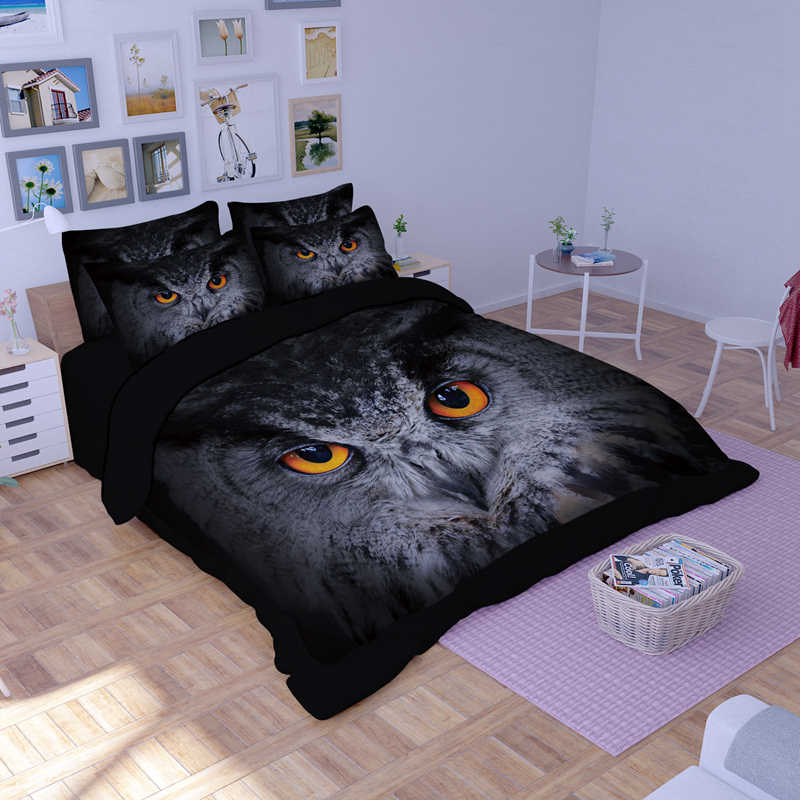 Owl printed Bedding Set comforter Twin Full Queen King Duvet Cover Fitted Sheet pillowcases Queen King Sizes bed linens set