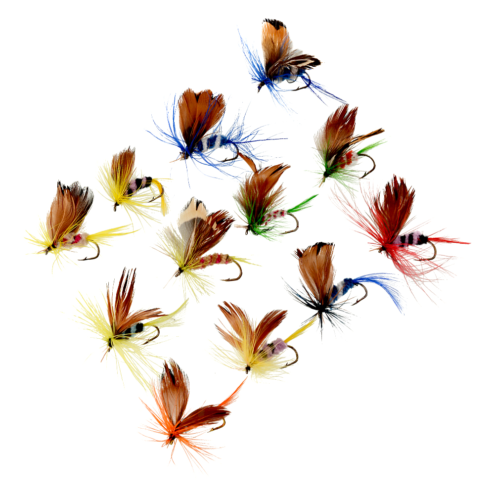 12PCcs/Lots Outdoor Sports Fishing Flies Dry Fly Tackle Lures Bait Butterfly Barb Single Hooks Set mnft 10pcs 14 dry flies economic fly selection fishing lures golden wire yellow zebra body fishing flies