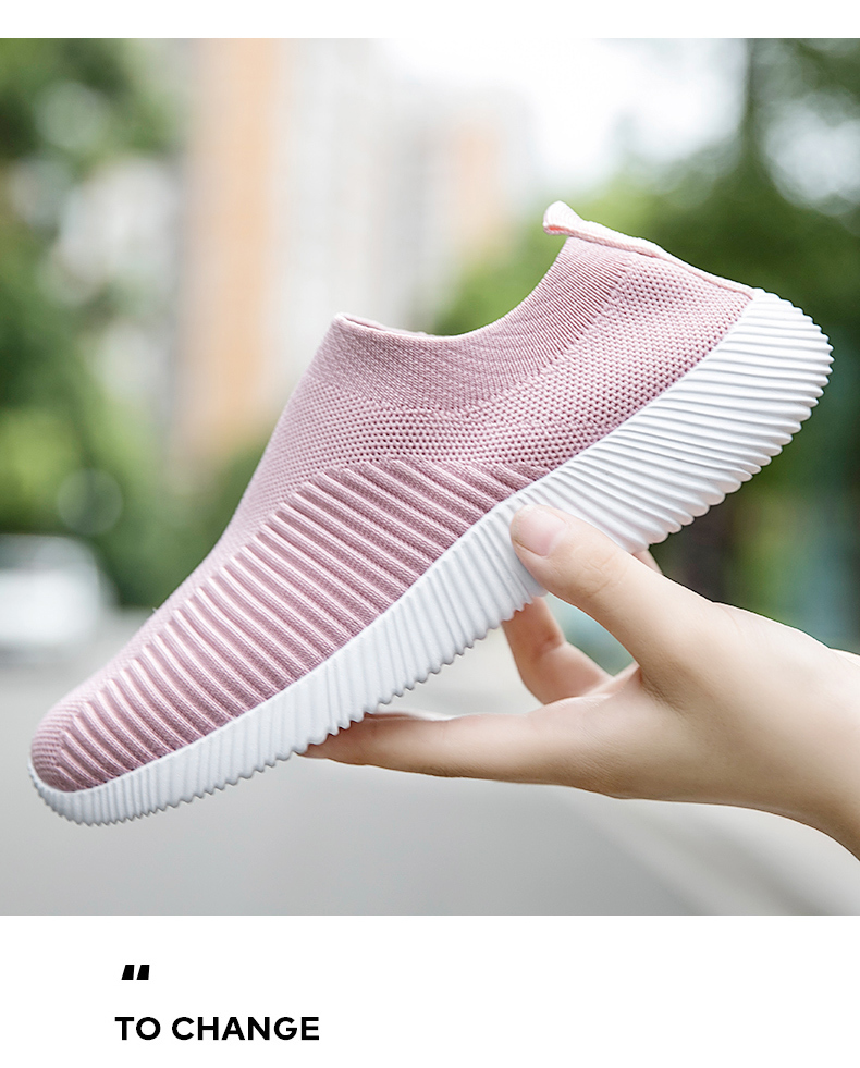 Slip On Flying Knit Women Fashion Sneakers Breathable Flat Heel Casual Shoes Round Toe Low Top Women Shoes XU034 (25)
