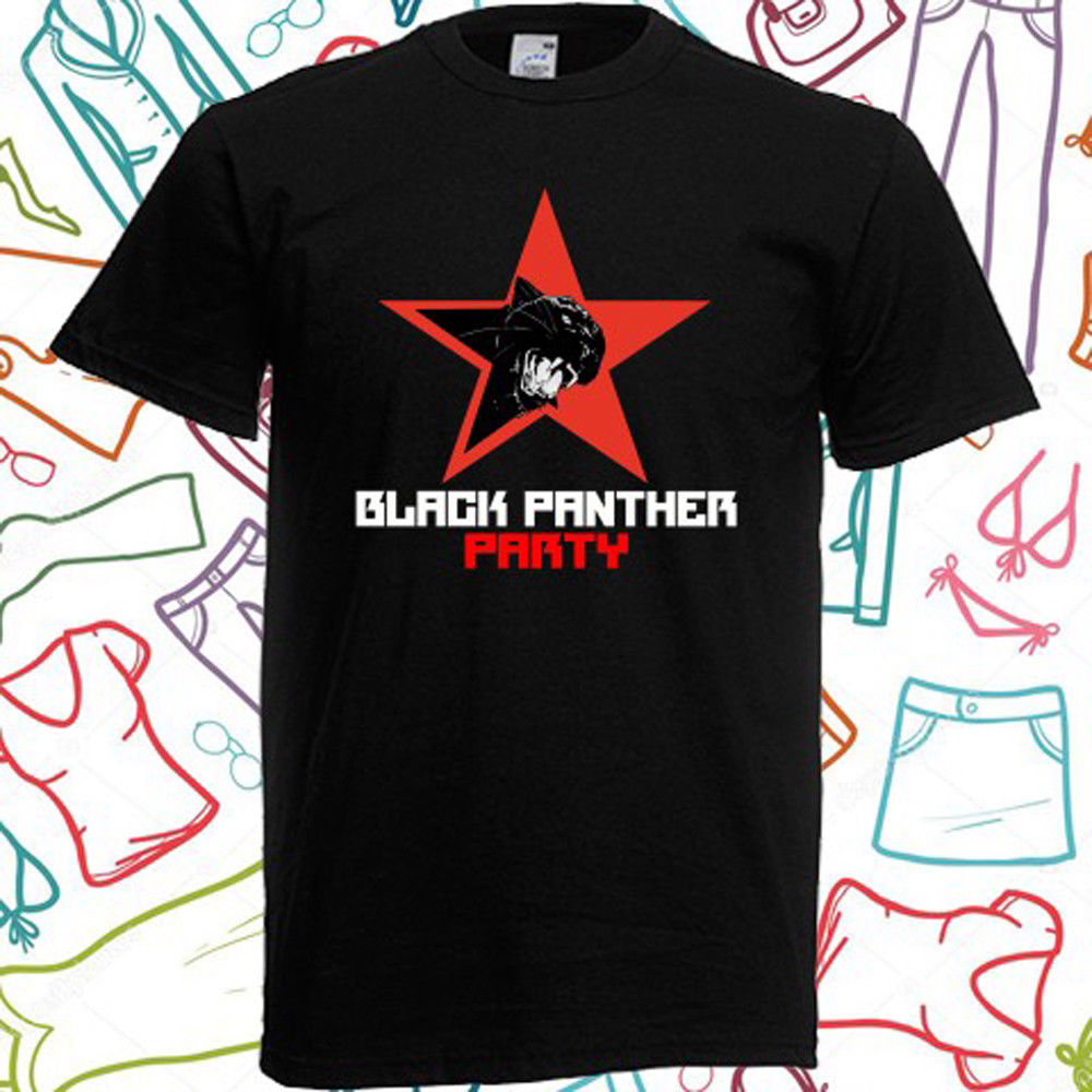 Black Panther Party Logo <font><b>Malcolm</b></font> <font><b>X</b></font> Men's Black <font><b>T</b></font> <font><b>Shirt</b></font> Size S to 3XL Printed <font><b>T</b></font>-<font><b>Shirt</b></font> Boys Top Tee <font><b>Shirt</b></font> Cotton top tee image