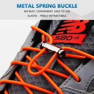 Image 3 - 1Pair Quick Shoelaces Elastic No Tie Shoe Laces Round Sneakers Shoelace Kids Adult Unisex Lazy Laces 18 Color Strings Metal Lock