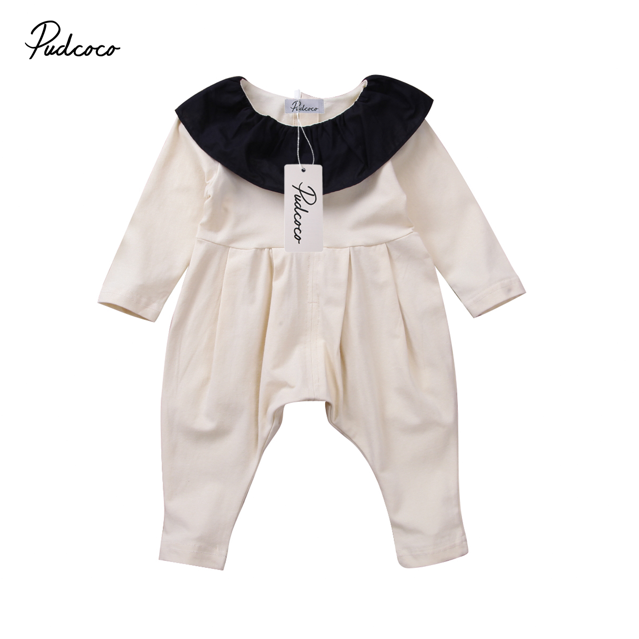 Pudcoco Newborn Baby Girl Ruffle Collar Long Sleeve Romper Playsuit Harem Pants Toddler Winter Clothes Outfit 3pcs newborn infant baby girl thanksgiving clothes set playsuit romper short pants bowknot outfit set