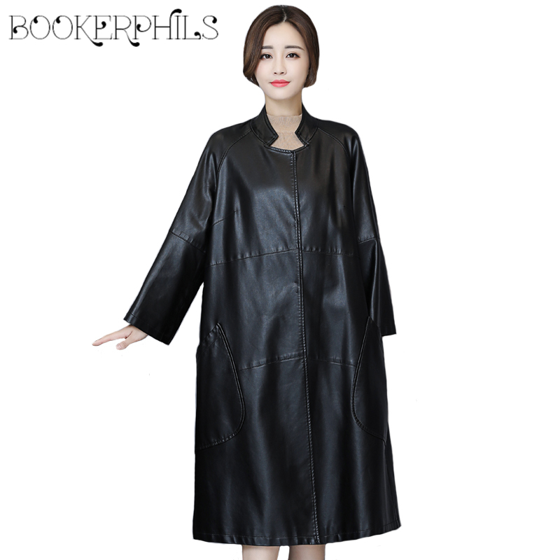 Long   Leather   Coat Women 2019 Autumn Winter Oversize Black Soft PU   Leather   Jacket Loose Women Trench Coat Female Outwear