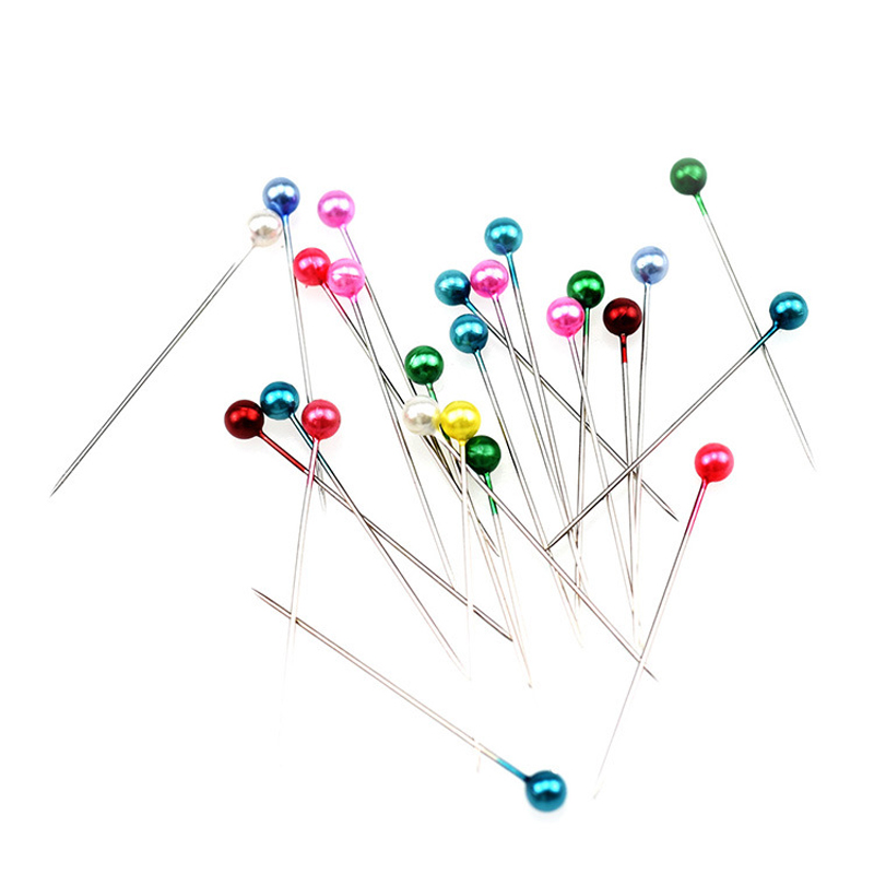50//100Pcs Round Pearl Head Dressmaking Pins Weddings Corsage Florists Sewing Pin