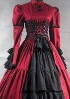Может быть пользовательские 2015 элегантный черный/красный одежда с длинным рукавом Винтаж Готический викторианской Лолита Платья для женщи
