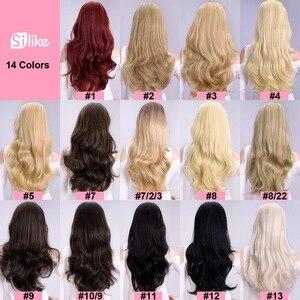 Image 2 - Silike Synthetische 3/4 Half Pruiken 24 Inch Lange Blonde Golvende Pruik Met Clip In Hair Extension 16 Kleur 210G voor Zwart Wit Vrouwen