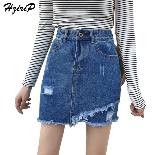 Hzirip casual irregular borla corta falda de mezclilla 2017 otoño vintage  color sólido alta cintura desgastado eb5a0f3d3b6e