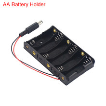 6 Grid AA Batterie Halter Kunststoff #5 Batterie Fall Box mit DC 2,1 Power Kabel für Arduio Power Bank lagerung Fall(China)