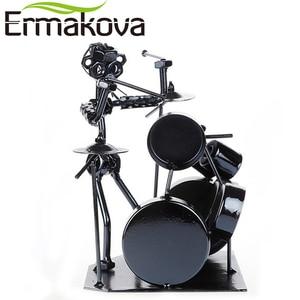 Image 2 - ERMAKOVA Metal Musician Drum Player Statue Drummer&Drum Set Sculpture Figurine Ornament Cafe Counter Office Book Shelf Decor