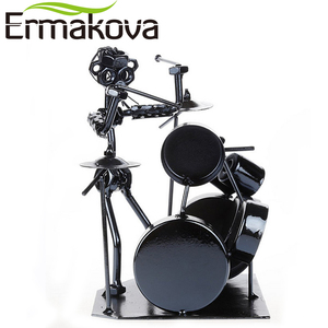 Image 2 - ERMAKOVA métal musicien tambour joueur Statue batteur et batterie ensemble Sculpture Figurine ornement café comptoir bureau livre étagère décor