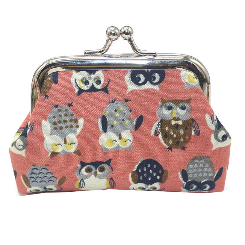 Aelicy New Arrival Vintage Women Girls Mini PU Leather Handbag Owl Printing Hasp Coin Purse Clutch Key Holder Storage Bag Wallet
