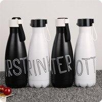 Moda 350 ML Przenośne Kreatywne butelka ze stali nierdzewnej czarny i biały kolor Kręgle kształt Dziecko uczeń termofor