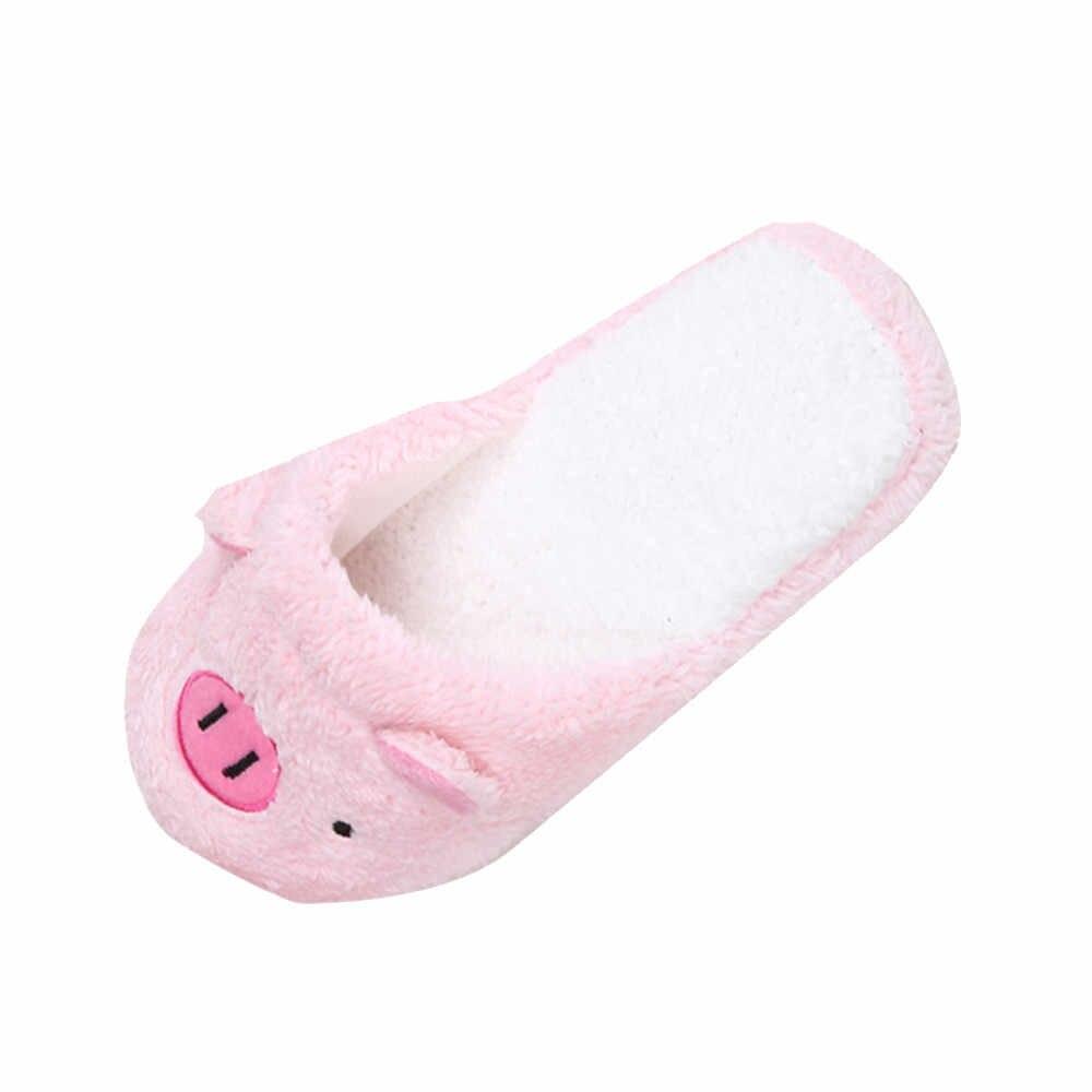 2018 Novas Mulheres Bonitas Do Falhanço de Aleta Da Forma de Porco Bonito Sapatos Meninas Inverno Piso Casa Macio Chinelos Tarja Feminino Primavera Quente sapatos