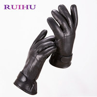 RUIHU Women Winter Gloves Fashion High Quality Lady S Leather Gloves Warm Fur Glove Luvas Mittens