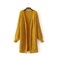 High Street Knitting Yellow Long Women Cardigan Sweater 2017 Fashion Autumn Winter Warm Loose Casual Oversized