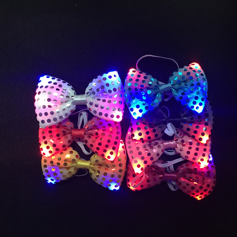 Led Toys Flashing Light Up Bow Tie Necktie LED Female Male Party Light Sequins Tie Wedding Decoration Halloween Glow In The Dark (7)