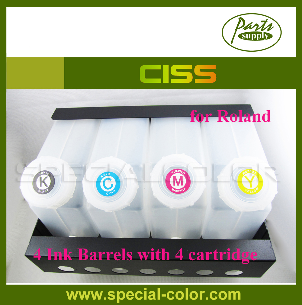 Roland CMYK Color Printer CISS Continuous Ink Supply System (4 ink barrels with 4 refill ink cartridge) 4 colors set cmyk roland dx4 solvent printer full ink cartridge with chip