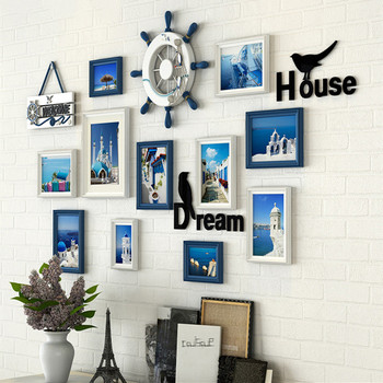 11 pcs/set Mediterranean Style Photo Frame Wall Living Rome Decor Picture Frame Hot Sale Wall Hanging Photo Frames 4 colors
