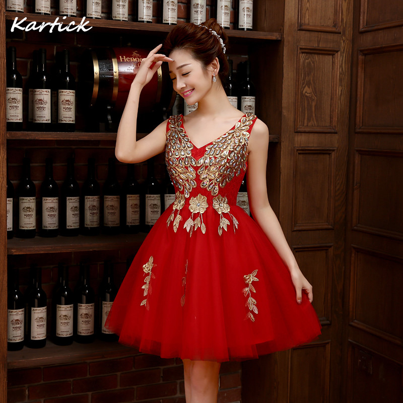 2016 New Arrival Evening Dresses Elegant Red A-Line Bride Gown Ball Prom Party Homecoming/Graduation Princess Short Formal Dress