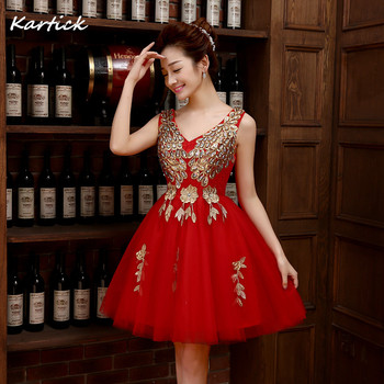 New Bridesmaid Dresses Elegant Red A-Line Bride Gown Ball Prom Party Homecoming/Graduation Gown Princess Short Formal Dress 2016 new lace evening dresses with cap sleeve flower red bride gown ball prom party homecoming graduation princess formal dress