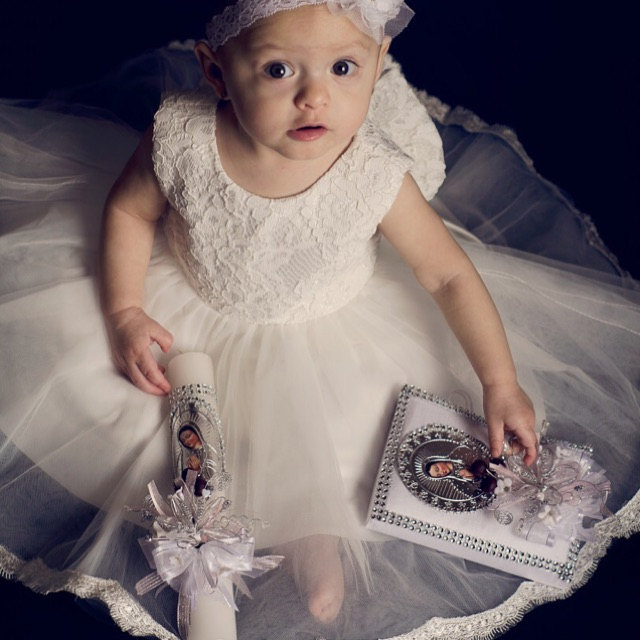 White/ivory baby first birthday dresses flower girl infant lace christening dress baptism gown With Bow fashion baby christening dress girl first communion gown gorgeous infant baptism dresses tied bow with flowers crystals lace